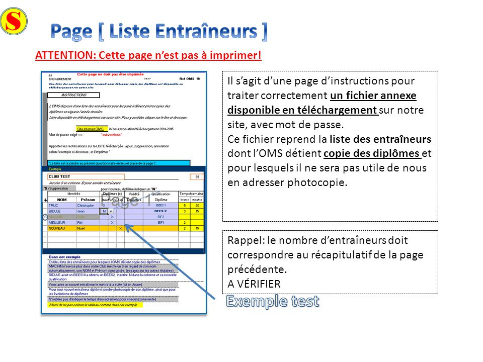 S Page [ Liste Entraîneurs ] Exemple test